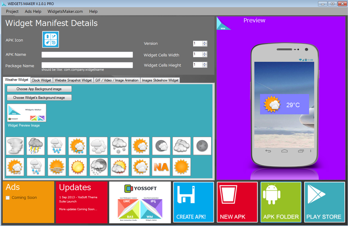 Widgets maker create widgets for android